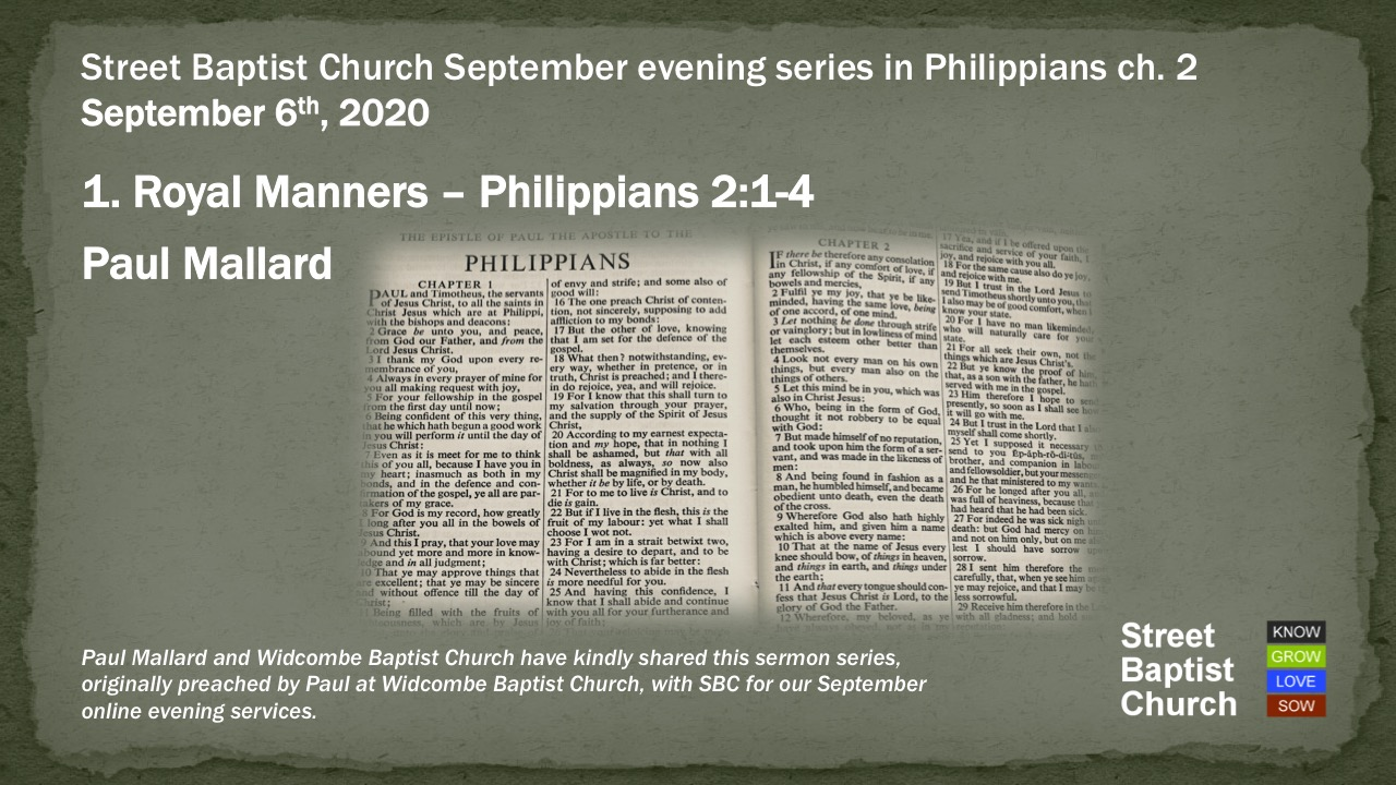 Philippians 2:1-4 - Royal Manners