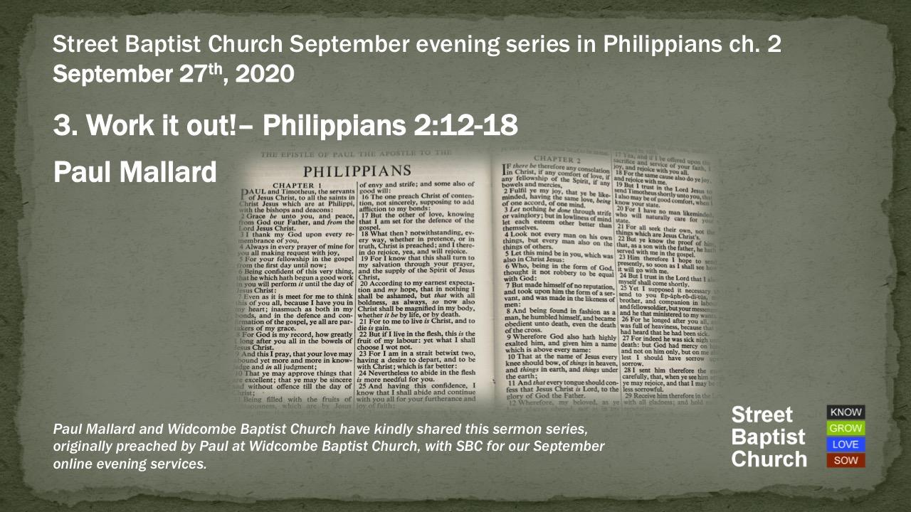 Philippians 2:12-18 - Work it Out!