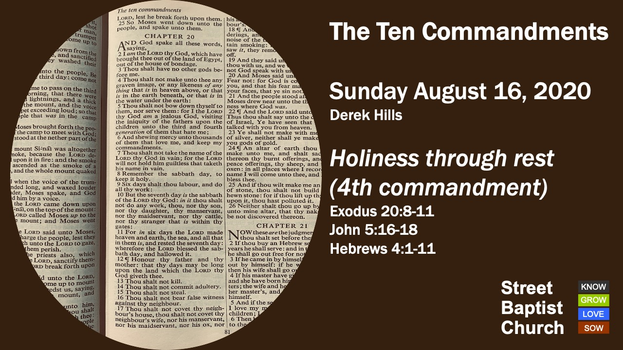 The Ten Commandments: Holiness through rest (4th commandment)