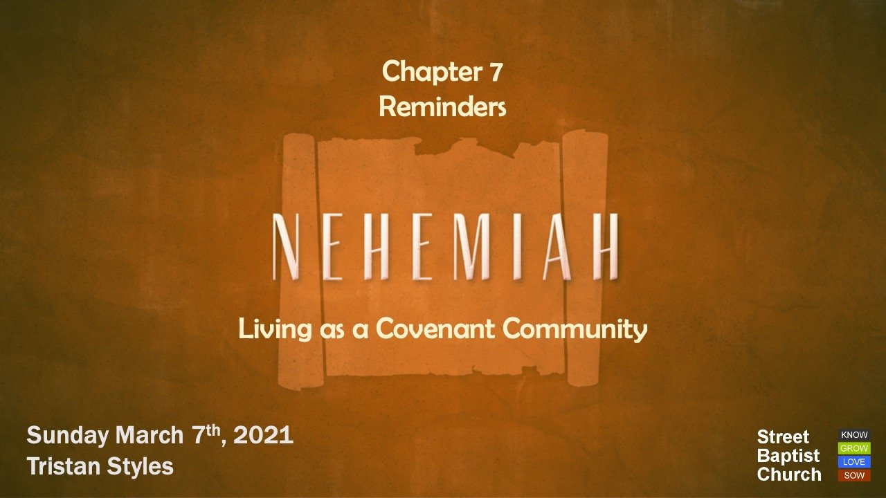 Nehemiah: Reminders